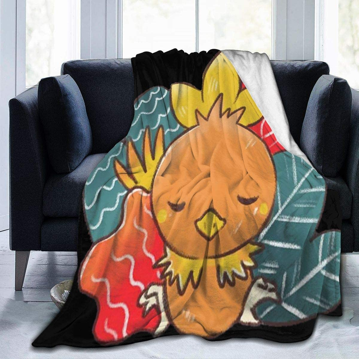Poke-mon Sleeping Torchic Fleece Blanket Ultra-Soft Lightweight All Seasons Fit Bed Couch Chair Office Flight and Outdoors