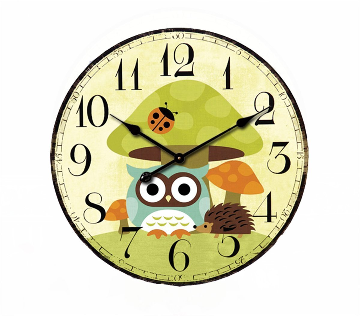 Cute Mushrooms Animal 14'' Wall Clock, Eruner Family Decoration French Country 14-Inch Wood Clock Painted Retro Style for Children's Room(14'' Mushrooms, M2)