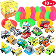 Dynoson 18 PCS Filled Easter Eggs with Toy Cars,3.6″Colorful Prefilled Pull Back Construction Vehicles Easter Eggs,for Easte