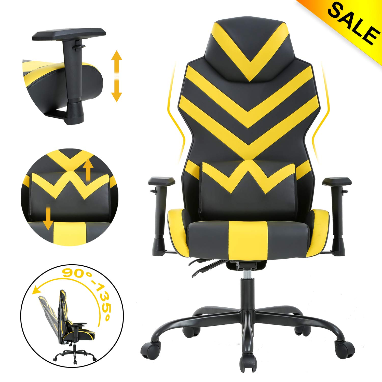 Office Chair Gaming Chair Desk Chair with Lumbar Support Adjustable Armrest Ergonomic Chair Swivel Rolling Executive Computer Chair for Adults Girl, Yellow