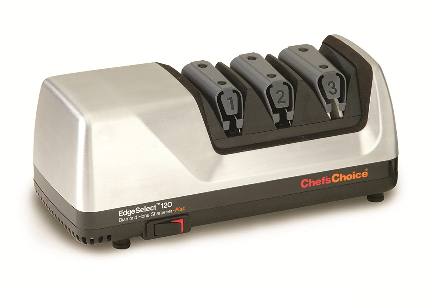 Chef sChoice 120 EdgeSelect Diamond Hone Professional Knife Sharpener for Straight and Serrated Knives with Precision Angle Control, 3-Stage, made in USA, Brushed Metal