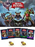 Hero Realms Card Game Bundle of Base Game and one each of the Custom Hero Decks plus Two Treasure Chest Pin Back Buttons