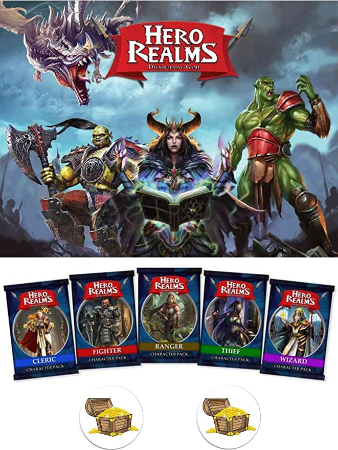 Mixed Hero Realms Card Game Bundle of Base Game and one Each of The Custom Hero Decks Plus Two Treasure Chest Pin Back Buttons