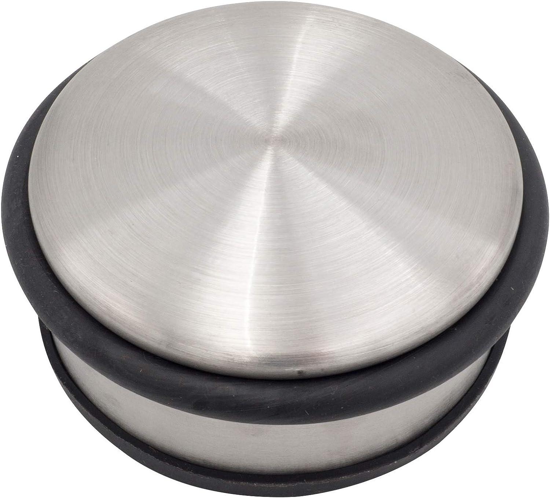 4 topes de puerta planos de 10 x 4 cm de acero inoxidable cepillado con parte inferior de goma y anillos de goma para la protecci/ón