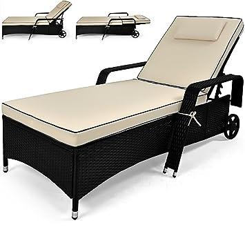 Deuba® Poly Rattan Sonnenliege | 6 fach verstellbare Rückenlehne