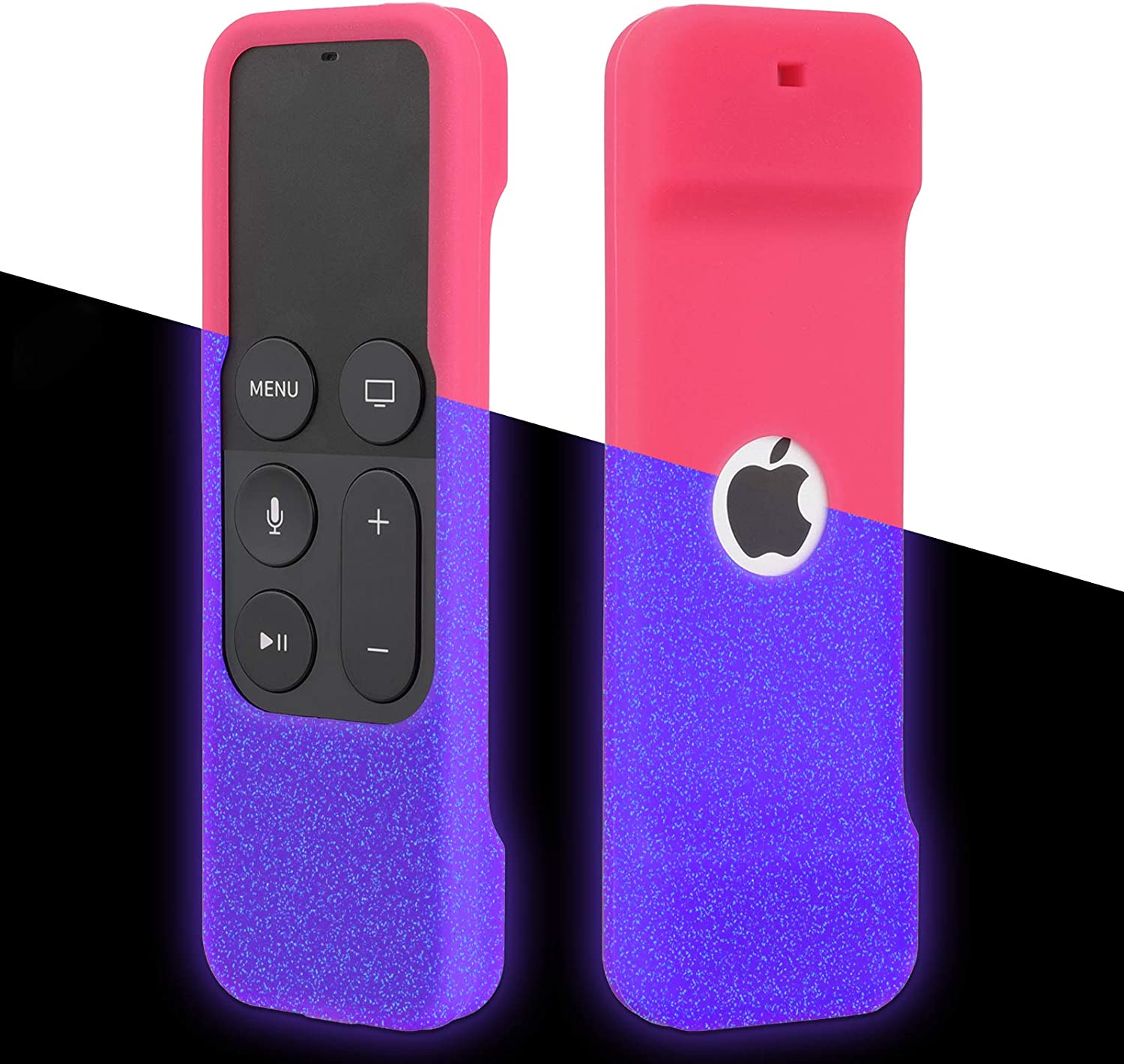 [Nightglow] Case for Apple TV 4K / 4th / 5th Gen Remote, Akwox Light Weight [Anti Slip] Shock Proof Silicone Cover for Apple TV 4K Siri Remote Controller [Lanyard Included]