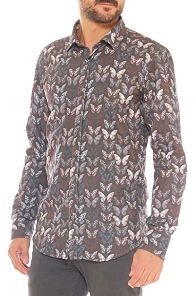 disegni attraenti doppio coupon acquista originale Camicia Uomo Slim Fit in Popeline Puro Cotone Fantasia ...