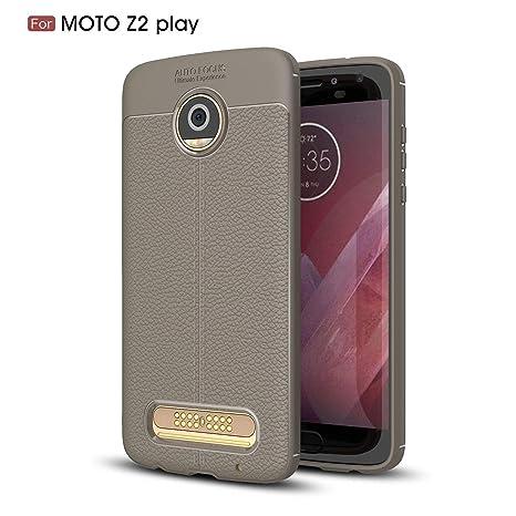 Ycloud Resilient TPU Funda para Motorola Moto Z2 Play Delgado Silicona Case Shock-Absorción Litchi Textura Back Cover Gris Carcasa para Motorola Moto ...