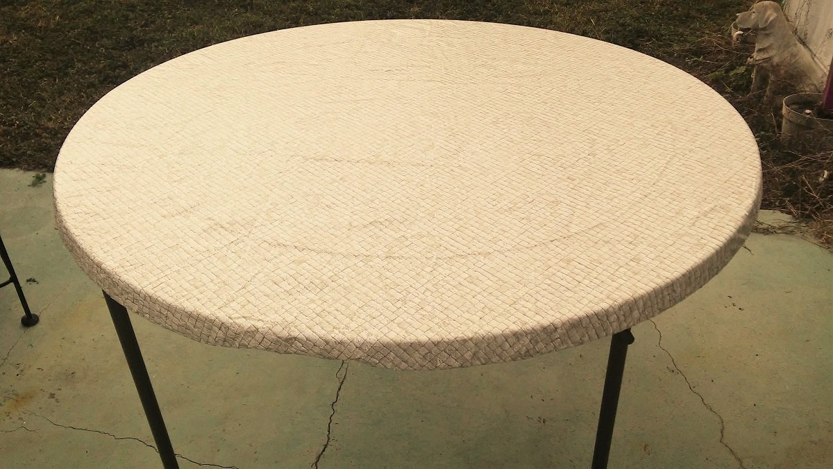 Fitted Round Elastic Edge Mosaic Vinyl Tablecloth Table