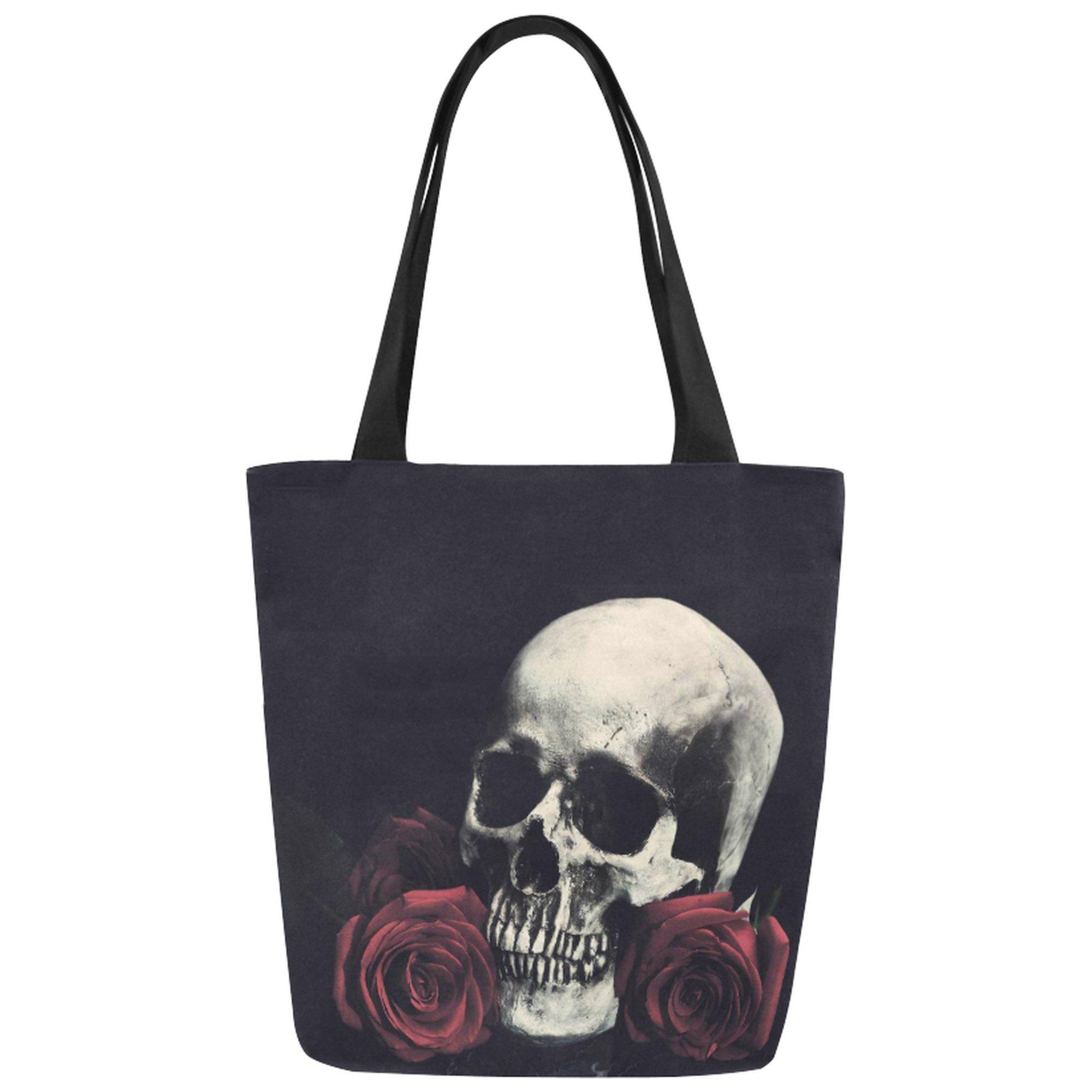 InterestPrint Vintage Rose Floral Skull Canvas Tote Bag Shoulder Handbag for Women Girls
