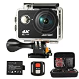 ウェアラブルカメラ 「Englie」4K WIFIスポーツカメラ アクションカメラ2.0インチLCD 12MP 1080P 防水カメラ リモコンバイクや自転車/カート/車に取り付け可能 フルHD 170度広角レンズ2.4G無線RF高画質 豊富な付属品付き&二つバッテリー(ブラック)