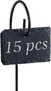 Homemaxs Plant Labels, 15pcs Garden Plant Markers Weatherproof Reusable Natural Slate Plant Tags on Metal Hanger Rod Stakes Garden Signs for Vegetables, Flower, Pots, Planters - 10x7cm Garden Labels