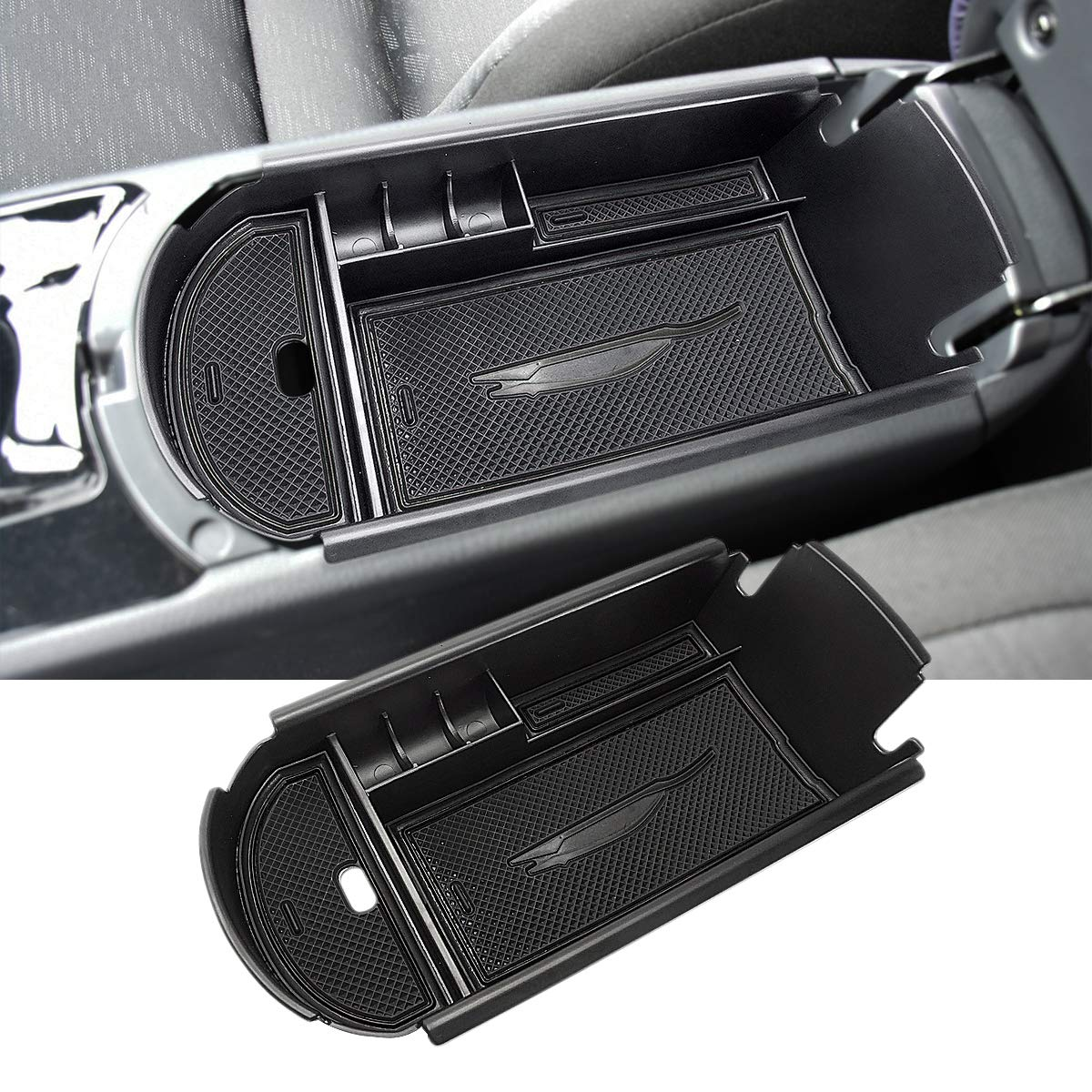 MLING Car Center Console Organizer Armrest Box Secondary Storage Compatible for C-HR 2016 2017 2018 Black