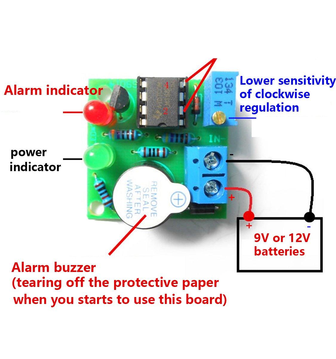 12v Lead Acid Battery Overdischarge Sound Light Alarm Protection 9 Volt Buzzer Circuit Diagram Board Low Voltage Warner