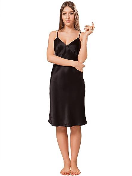 9f66e93ae60d3 ElleSilk Women's Silk Slip, Short Silk Nightdress, Premium Quality Mulberry  Silk, Black,