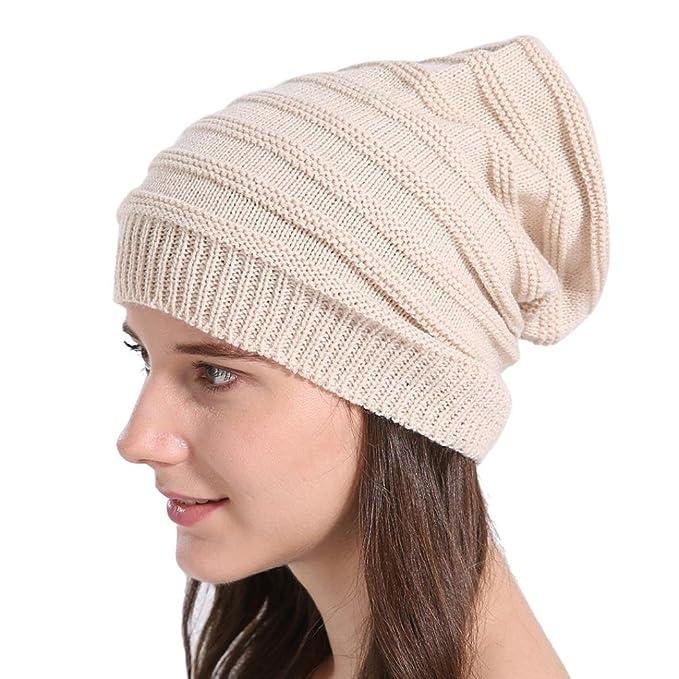 Changeshopping Unisex Knit Baggy Beanie Beret Winter Warm Oversized Ski Cap  Hat (Beige 02  ee4226f0d8e
