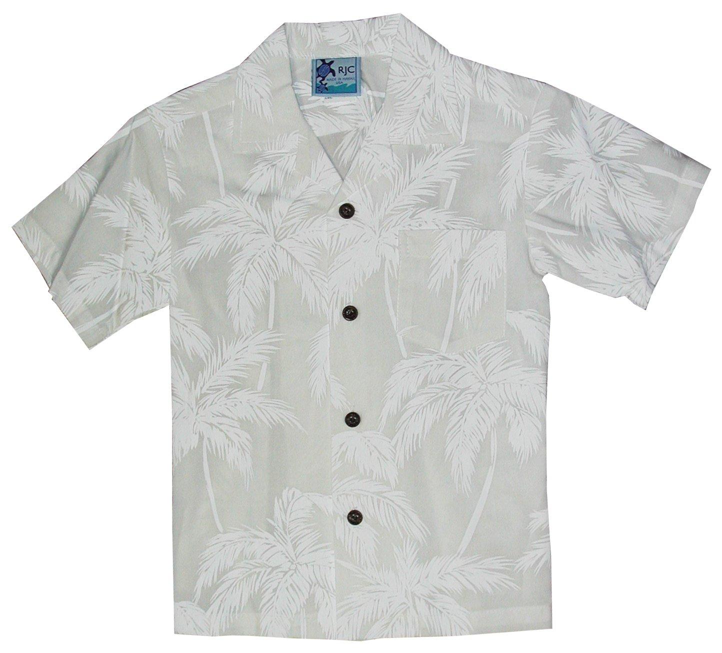 RJC Boys Palm Trees Wedding White Rayon Shirt 16