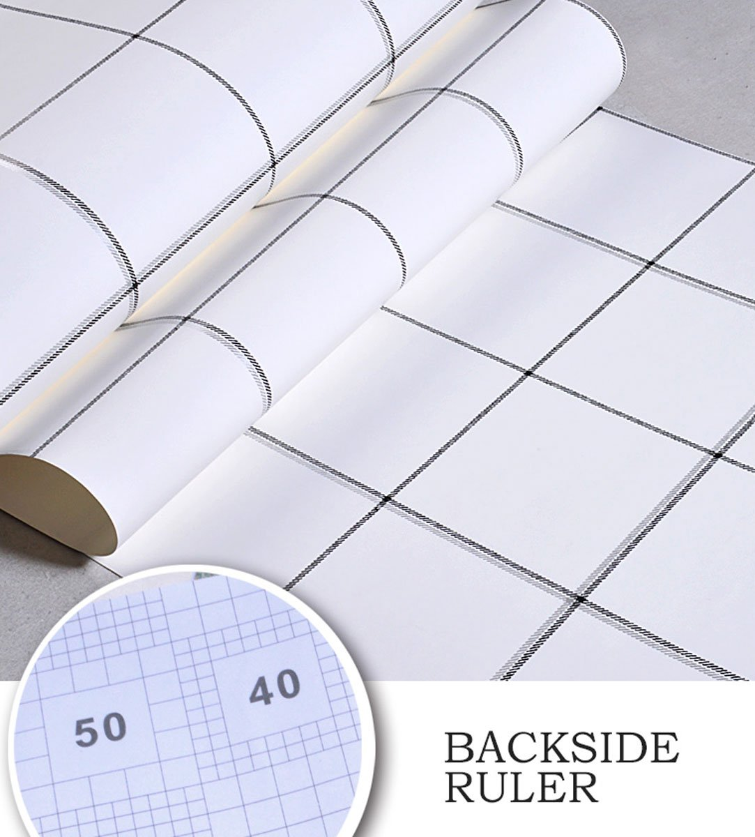 17.71'' X 118 '' White Grid Wallpaper Peel and Stick Wallpaper Dormitory Self-Adhesive Removable Wall Contact Paper Decor Decals Contracted Decoration Textured Panel for Smooth-Wall Surface