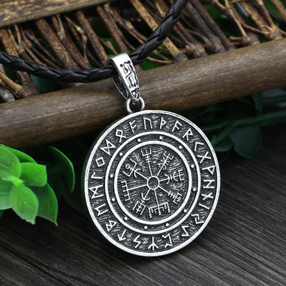 Amazon.com: Mjolnir Odin Símbolo Runic Runa amuleto vegvisir ...