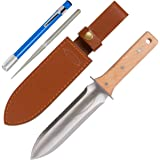 Hori Hori Garden Knife with FREE Diamond Sharpening Rod, Thickest Leather Sheath and Extra Sharp Blade - in Gift Box. This Knife Makes a Great Gift for Gardeners and Campers!