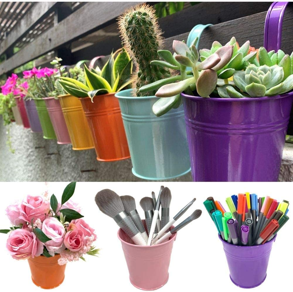 Hanging Pots for Plants - 10 Pack, Metal 4 Inch Pots for Plants with Drainage, Balcony Garden Rail Railing Fence Planters, Small Succulent Pots, Mini Flower Bucket Pot for Herb, Macetas para Plantas
