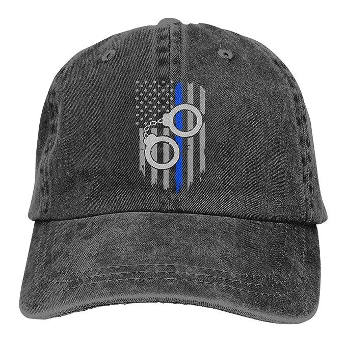 c31952116f4 Azmgh85dm Men Women Police Handcuffs Thin Blue Line Flag Baseball Cap Denim  Dad Hat Trucker s Cap at Amazon Men s Clothing store