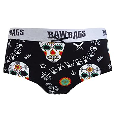 0eff77e5a1 BawBags Birds Black Day Of The Dead Pants Pants Hipster Womens Boyfriend  Briefs  Amazon.co.uk  Clothing