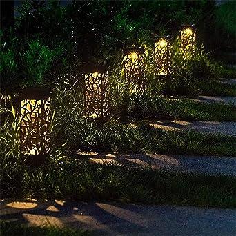 Al Aire Libre Led Solar Path Juego Linterna Jardín Led Tallado Luz Del Césped Solar Light Path Blanco Cálido_4 Piezas: Amazon.es: Iluminación