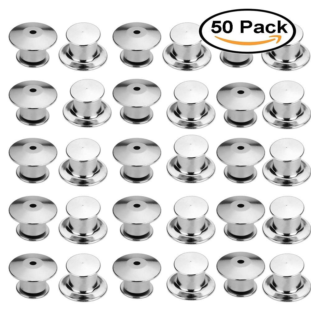Mydio confezione da 50 pin Keepers fermatende pin Locks metal pin backs con gancio di chiusura
