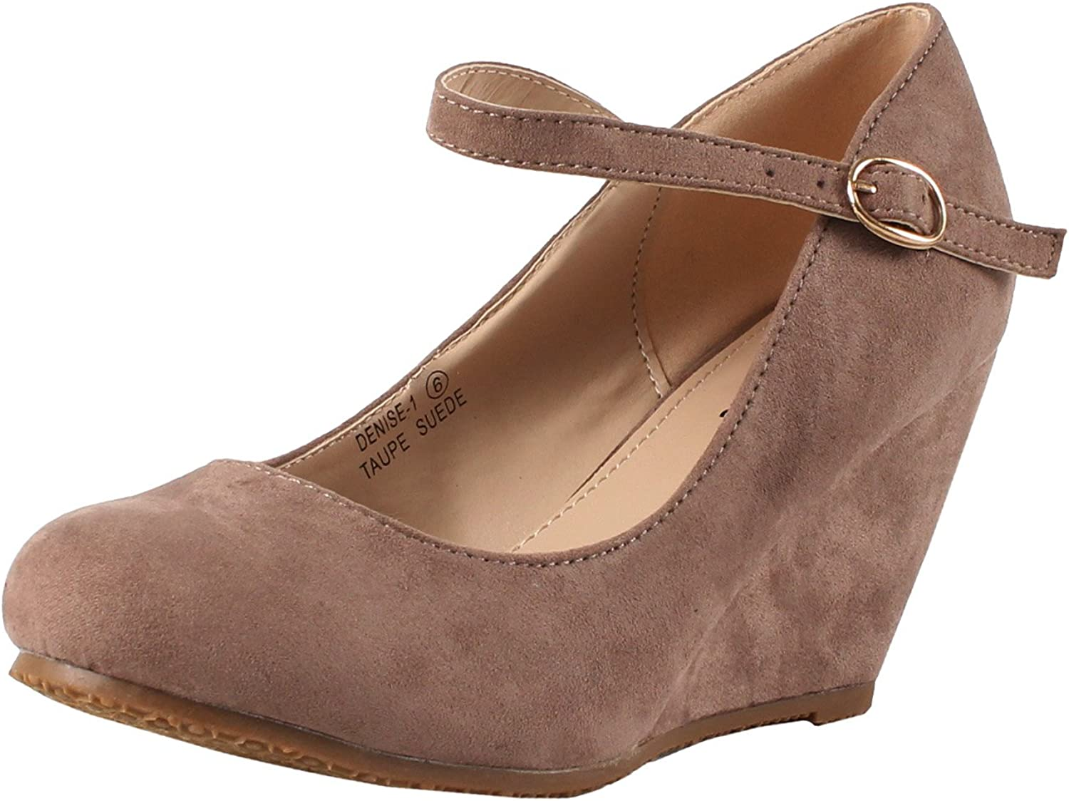 Bella Marie Denise-1 Women's Round Toe Wedge Heel Mary Jane Squeaky Strap Sue.
