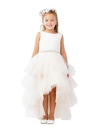 dca20f63930 Tip Top Kids Little Girls Champagne Lace Beaded Sash Hi-Low Flower Girl  Dress 2