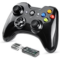 EasySMX 2.4G Wireless Controller for PS3, PC Gamepads with Vibration Fire Button Range up to 10m Support PC (Black)