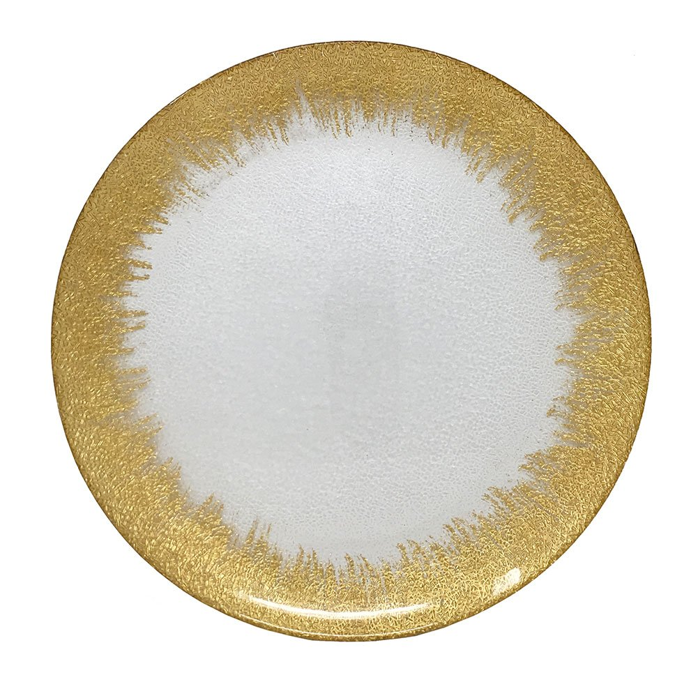 Fabulous Clear Glass Charger Plate Flashy Gold Rim Round Plate Chargers for Dinners, Weddings, Table Setting, Events, Decoration (24)