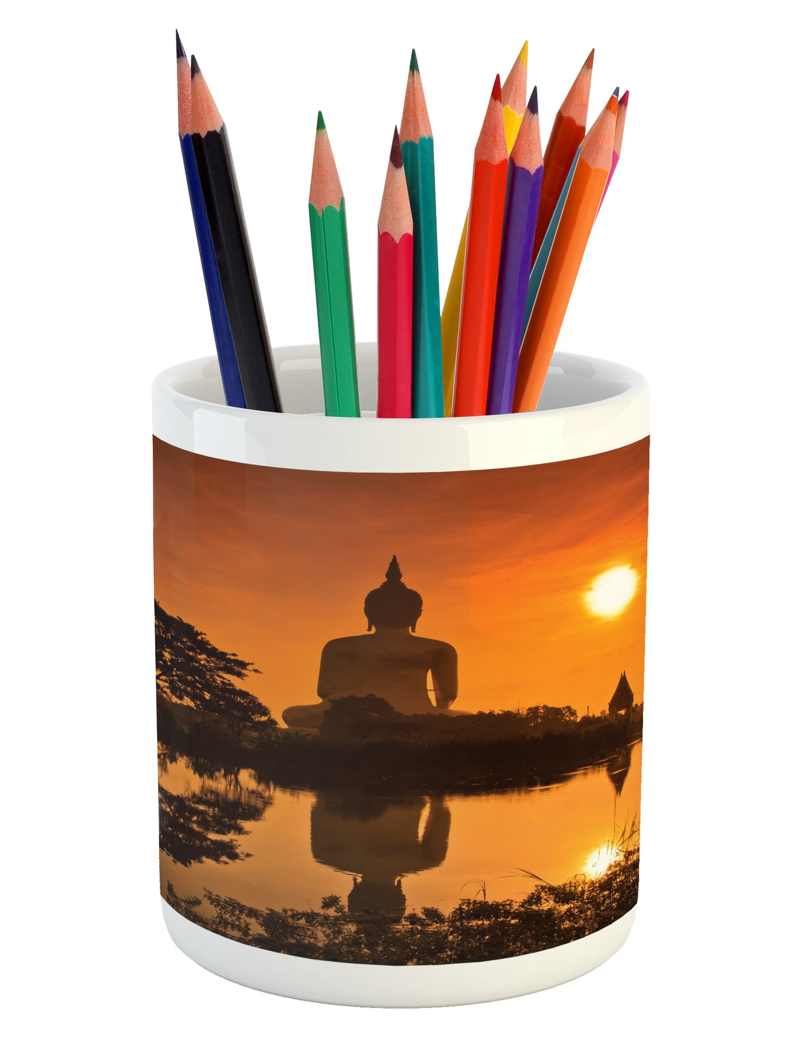 Ambesonne Asian Pencil Pen Holder, Big Giant Statue by the River at Sunset Thai Asian Culture Scene Yin Yang Print, Printed Ceramic Pencil Pen Holder for Desk Office Accessory, Burnt Orange