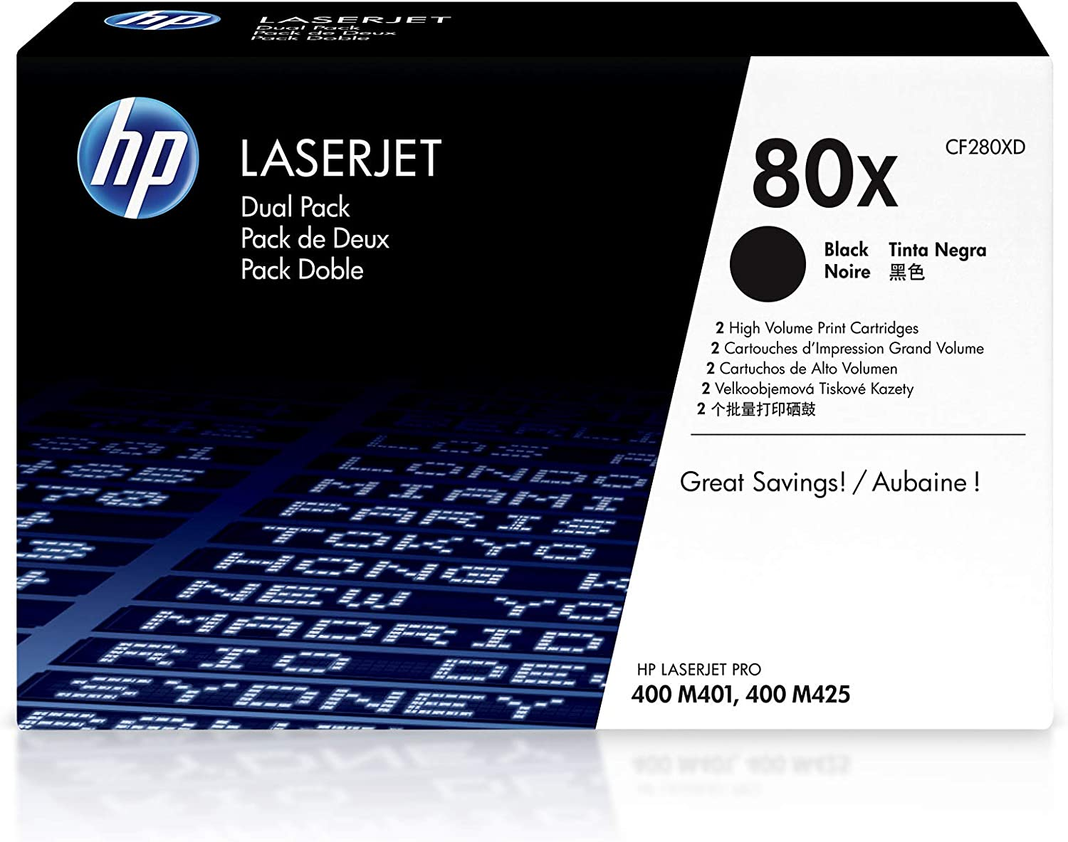 HP 80X | CF280XD | 2 Toner Cartridges | Black | High Yield