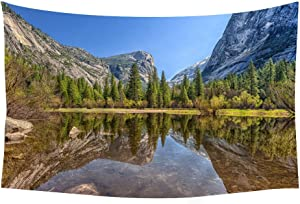 PUPBEAMO PRINTS 60x40 Inches Wall Tapestry - Mirror Lake Yosemite National Park Mountains - Wall Tapestry Art For Home Decor Wall Hanging Tapestry Bedroom Living Room Dorm Decor