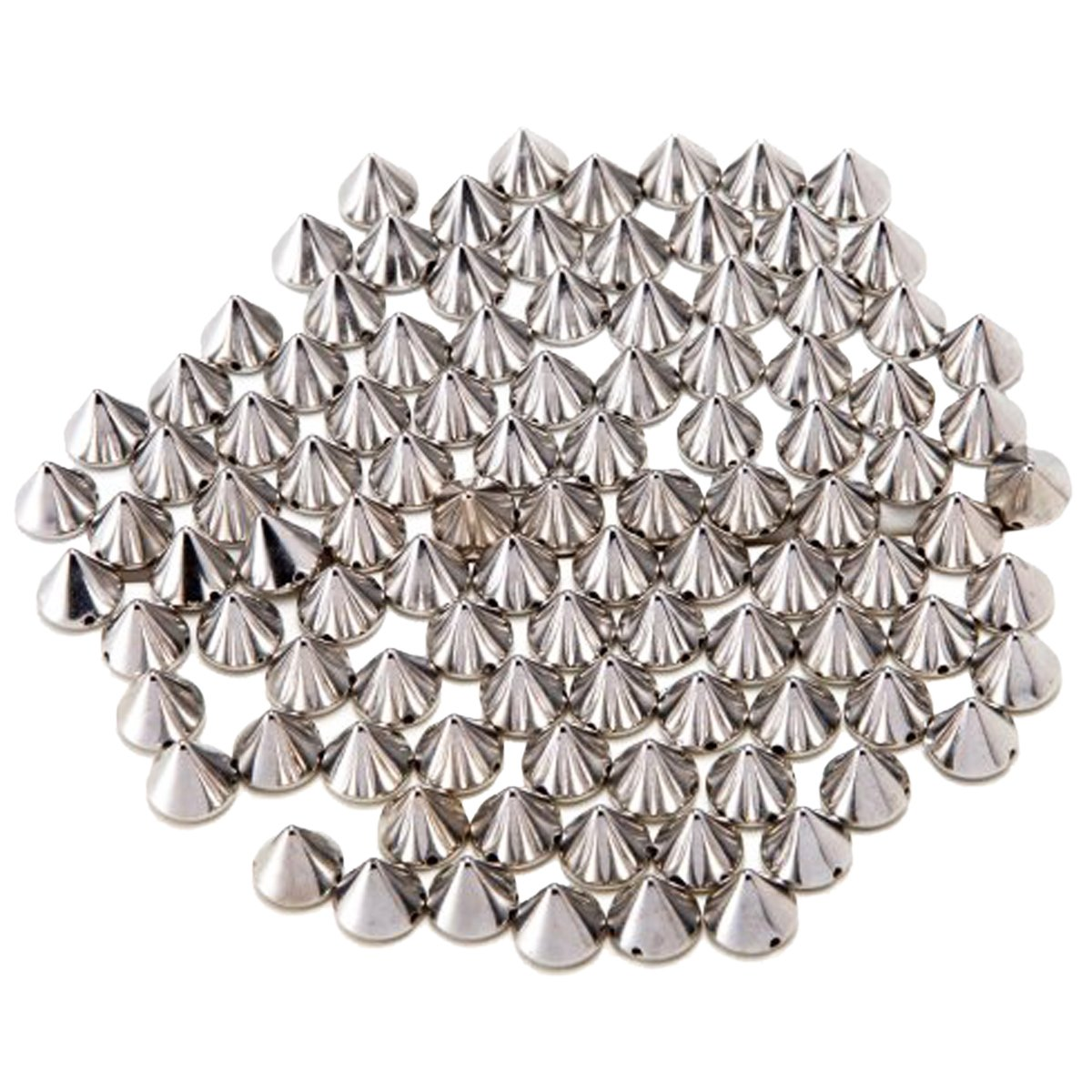 Paradise Kiss Approx 100pcs 10mm Silver Acrylic Bullet Spike Cone Studs, Beads, Sew On, Glue On, Stick On, DIY Garments, Bags & Shoes Embellishment Paradise Kiss CO.LTD