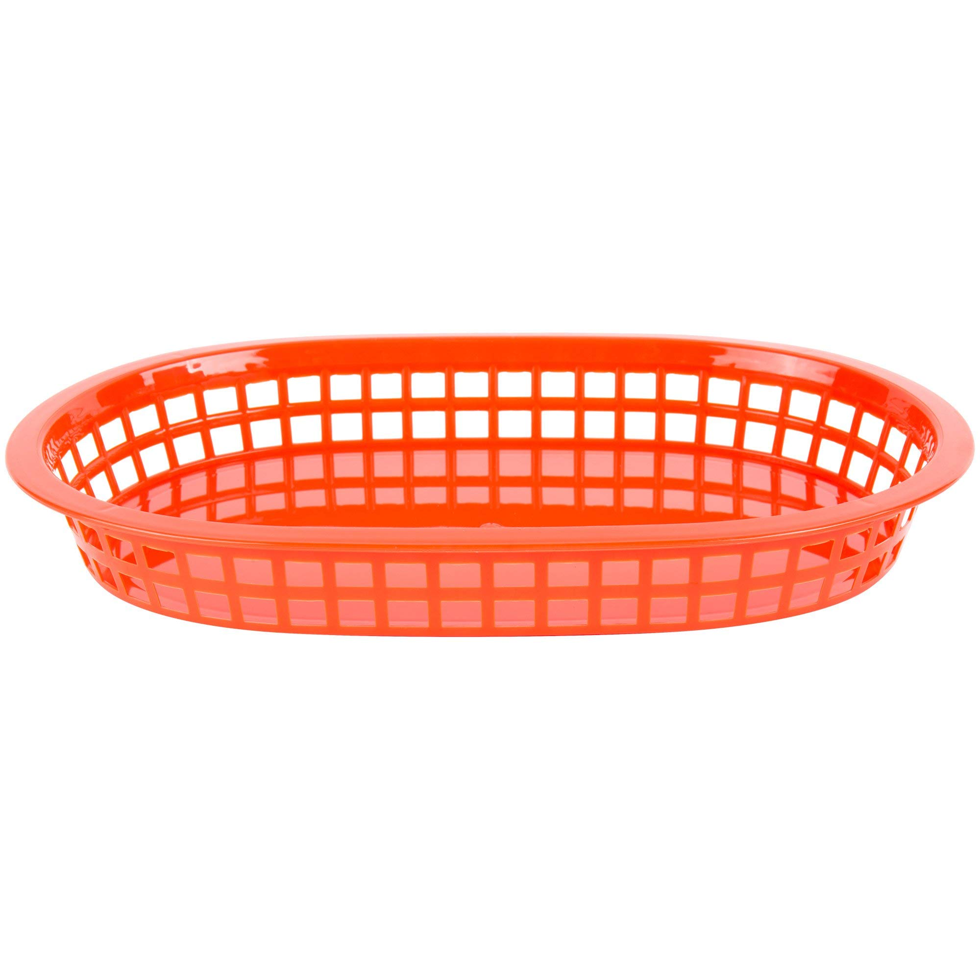 TableTop King 11'' x 7'' x 1 1/2'' Red Oval Plastic Fast Food Basket - 12/Pack