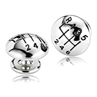 Aooaz Cufflinks for Men Stainless Steel Speed Gear Sports Silver Cufflinks Cufflinks 1.3X1.3CM H106 Men