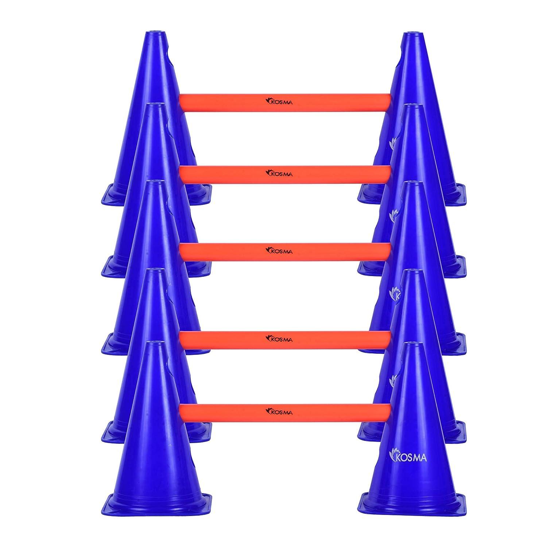 Kosma Juego de vallas de agilidad ajustable y multifuncional En bolsa de transporte 10Pc Marker Cone 9 pulgadas de color azul con 5Pc Color naranja Hurdle Poles 40 cm de largo