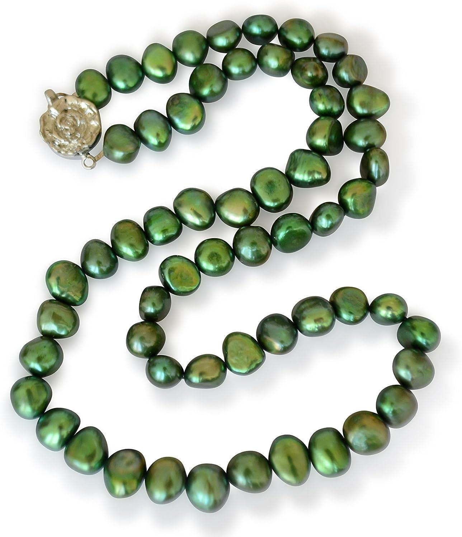 Vifaleno Collar de Perlas Natural de Freshwater, Perlas cultivadas de Agua Dulce, Verde, Barroco, 7-8mm