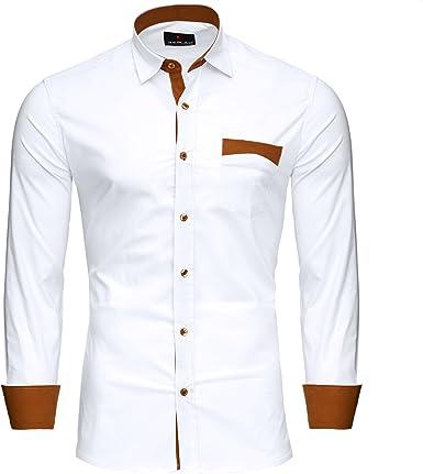 Reslad RS-7205 - Camisa para hombre en dos tonos, de manga larga : Amazon.es: Ropa y accesorios