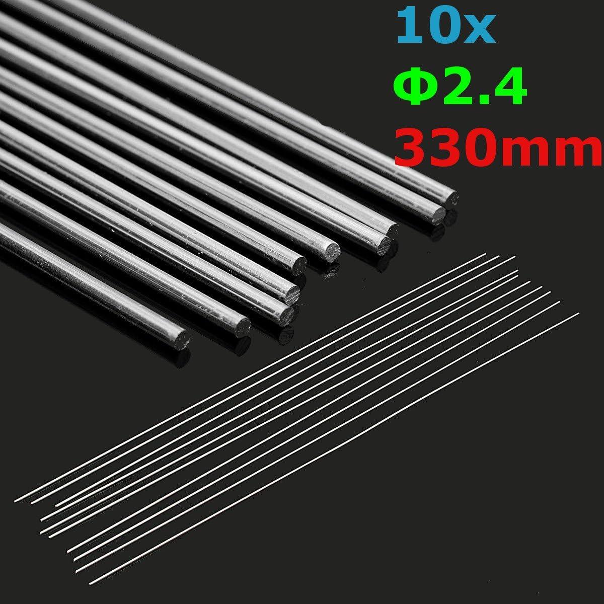 MASUNN 10Pcs 2.4 Mmx330Mm Aluminio Aleación Plata TIG Relle