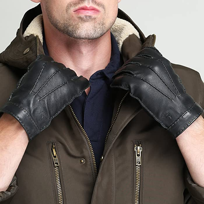 c55730b2fe85c ... CHULRITA Mens Deerskin Leather Drivers Gloves with Wool Lining ...