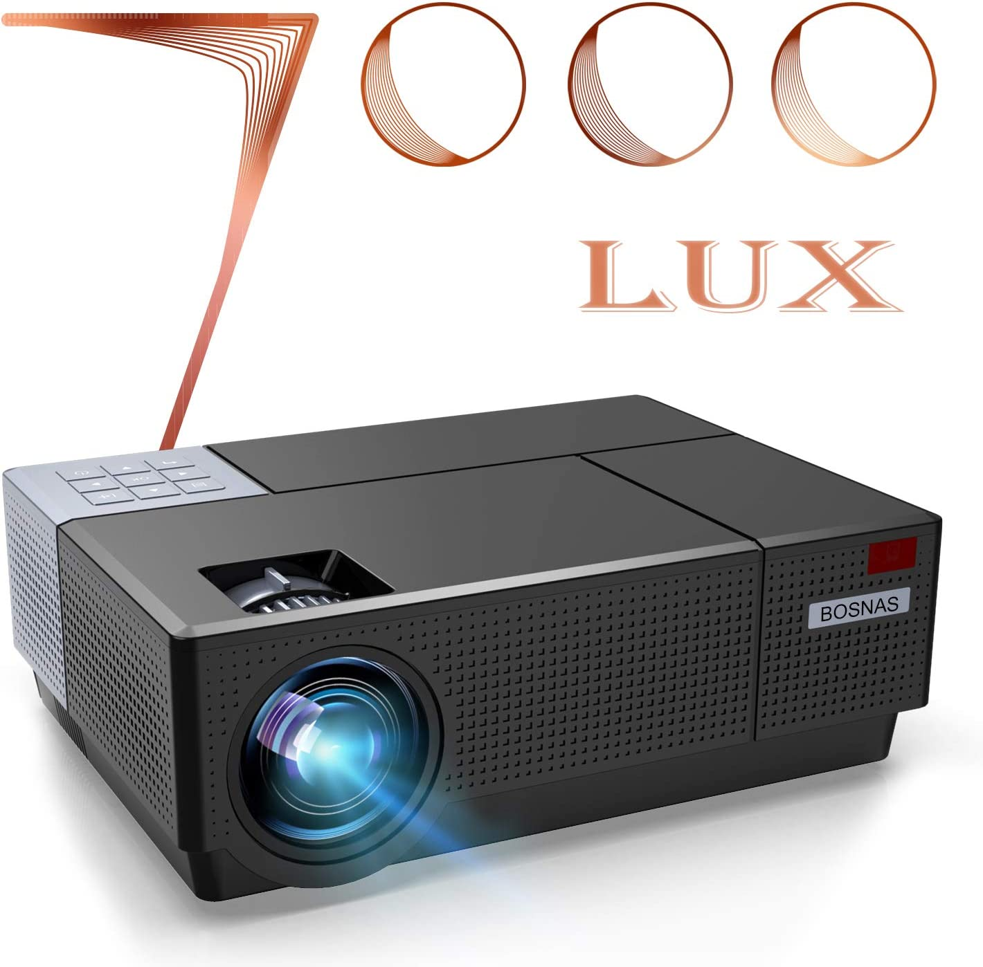 BOSNAS Native 1080P Projector 7000 Lux LED Projector 300'' Projection size adjustable ±50° 4D Keystone Correction Support 4k for Home Theater Compatible for TV Stick HDMI VGA USB Laptop iPhone Android