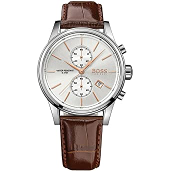 d438c1fcb2d Hugo Boss Jet Silver   Brown Leather Analog Quartz Chronograph Men s Watch  1513280