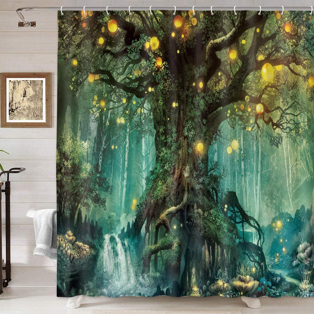 Details about  /Fantasy Shower Curtain Tree Branch in Forest Print for Bathroom