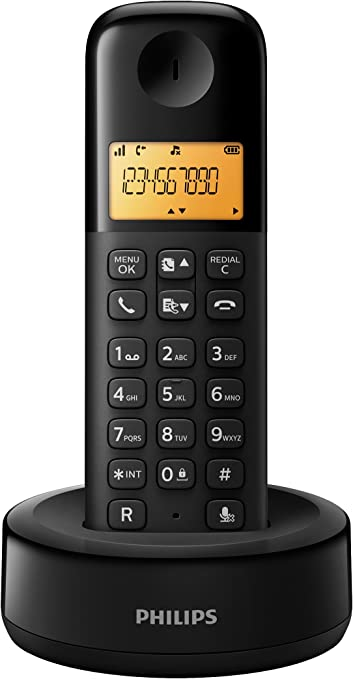 Philips D1302B/23 - Teléfono inalámbrico con pantalla iluminada de 4.1 cm, 10hrs conversación, Negro, 2 Piezas: Amazon.es: Electrónica