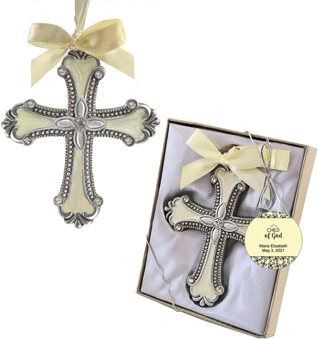 Icon With Madonna And Child Design And Ivory Ribbon Stunning Cross Ornament