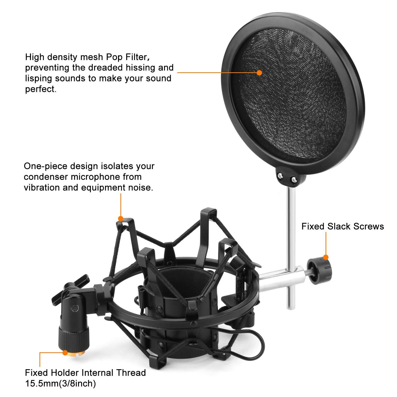Support de montage avec suspension anti vibrations universel Support de microphone avec filtre anti-pop Support filtre pour micro Filtre anti-pop haute densit/é avec diam/ètre de 46-52 mm